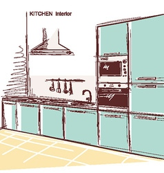 Kitchen interior room color sketchy backgrou vector