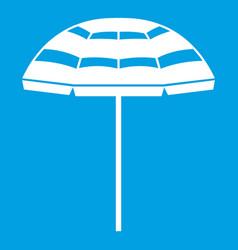 Beach umbrella icon white vector