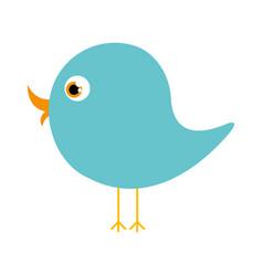 blue cute cartoon bird animal icon vector image