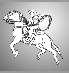 businessman on bucking horse running with lasso vector image
