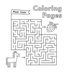 cartoon horse maze game vector image vector image