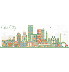 cebu city philippines skyline with color buildings vector image