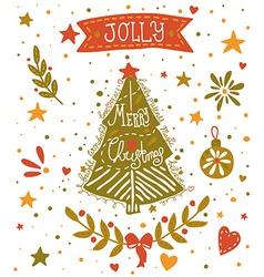Christmas sketchy greeting card with a Christmas vector image vector image