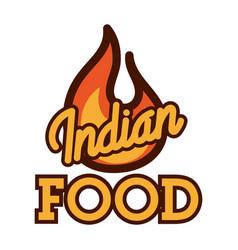 Color vintage indian food emblem vector