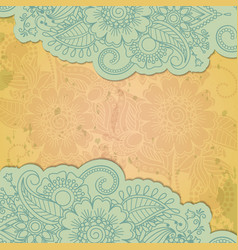Floral henna indian mehendi grunge background vector
