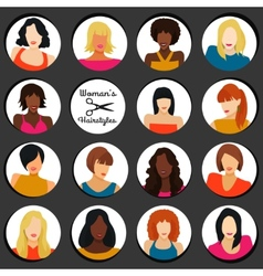 Girls with different hairstyles vector image vector image