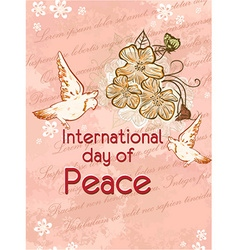 International day of peace with flowers vector