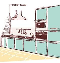 kitchen interior room color sketchy backgrou vector image vector image