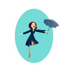 lady in blue coat girl under red umbrella in the vector image vector image