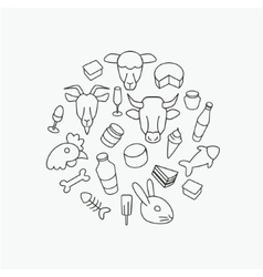Line farm icons vector image vector image