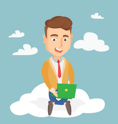 Man using cloud computing technology vector