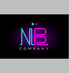 Neon lights alphabet nb n b letter logo icon vector