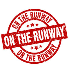 On the runway round red grunge stamp vector