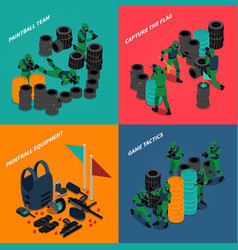 paintball isometric compositions vector image vector image