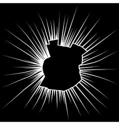 Radial cracks on broken black glass vector