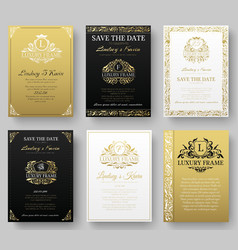 Set of gold luxury flyer pages set with logo vector