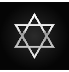 Silver star of david icon on black background vector