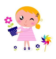 spring girl with flower vector image vector image