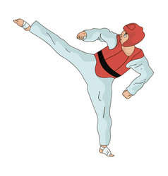 taekwondo fighter in white kimono and red vector image