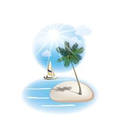 travel The sea yachts palm trees vector image vector image