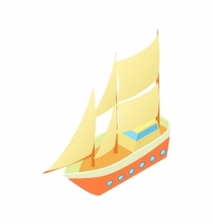 Ship with many sails icon cartoon style vector
