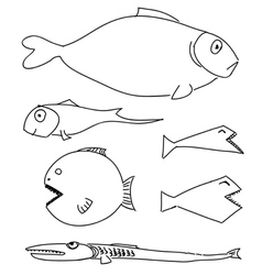 Humorous drawing fish set vector