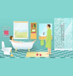 People At Bathroom Design vector image