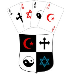 Shield and religious aces vector