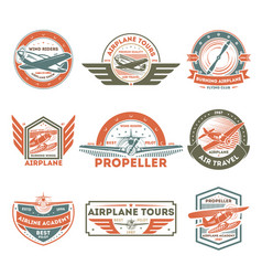 airplane vintage isolated label set vector image