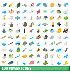 100 power icons set isometric 3d style vector image
