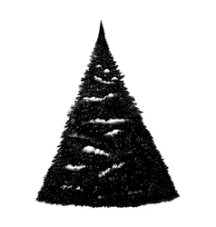 Black and white hand drawn on tablet fir tree vector