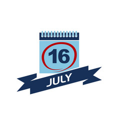 16 july calendar with ribbon vector image vector image