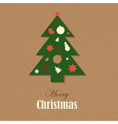 Christmas vintage card with christmas tree vector