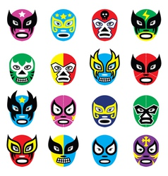 Lucha libre luchador mexican wrestling masks icon vector