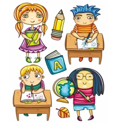 schoolchildren set 2 vector image