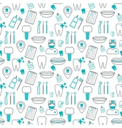 Dental seamless pattern linear icons flat design vector