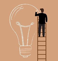 Businessman on the ladder drawing lightbulb idea vector