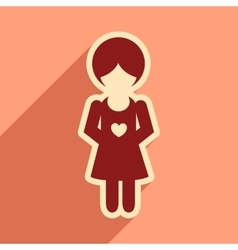 Flat icon with long shadow pregnant girl vector