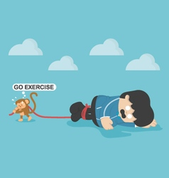 Monkey force obese people to exercise exhaustion vector