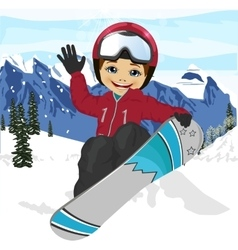 Boy jumping with snowboard at ski resort vector
