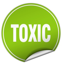 Toxic round green sticker isolated on white vector