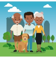 Grandparents with son icon family design city vector