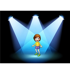 A little girl acting at the center of the stage vector image vector image