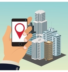 App gps smartphone smart city icon graphic vector