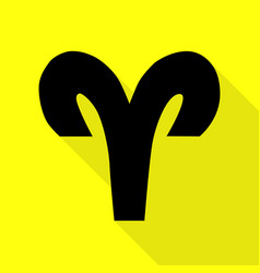Aries sign black icon with flat vector