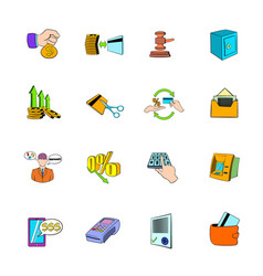 Bank icons set cartoon vector