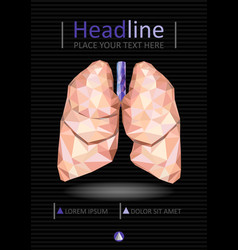 Book cover design with human lungs in low poly vector