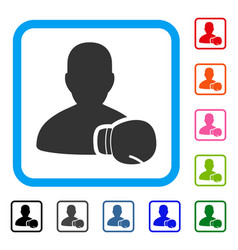 boxing sportsman framed icon vector image
