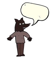 Cartoon happy werewolf with speech bubble vector