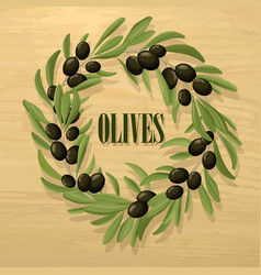 Cartoon natural black olive template vector